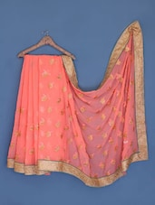 Peach Paisley Embroidered Georgette Saree - Suchi Fashion