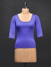 Blue Studded Cotton Knit Top - STREET 9