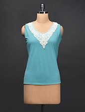 Aqua Blue Lace Embellished Sleeves Top - STREET 9