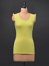 Yellow Frilled Sleeveless Cotton Knit Top - STREET 9
