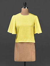 Yellow Plain Solid Polycrepe Top - STREET 9