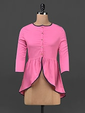 Pink Plain Solid Polycrepe Top - STREET 9