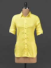 Yellow Plain Solid Polycrepe Shirt - STREET 9