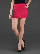 Fuchsia Plain Solid Polyviscose Skirt - STREET 9