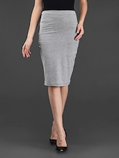 Black Grey Plain Solid Polyviscose Skirt - STREET 9