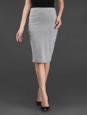 Black Grey Plain Solid Polyviscose Skirt - STREET 9