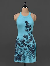Blue Floral Printed Polyviscose Dress - STREET 9