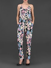 Multicolor Floral Printed Polycrepe Jumpsuit - STREET 9