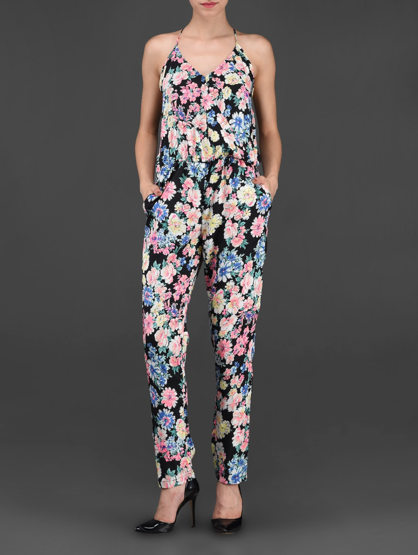 Multicolor Floral Printed Polycrepe Jumpsuit - STREET 9