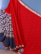 Half & Half Printed Bordered Saree - Trimurti Fashion