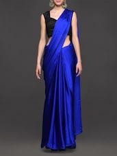 Blue Plain Solid Georgette Saree - Vamika