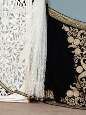 Black Embroidered Polynet Saree - Vamika