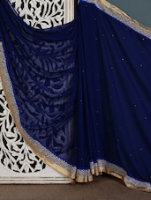 Blue Embroidered Poly Chiffon Saree - Vamika