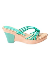 Mint Green Faux Leather Strappy Slip-On Wedges - Marc Loire