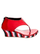 Red Faux Leather Clip-Toe Wedges - Marc Loire