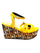 Yellow Faux Leather Wedge Platform Sandals - Marc Loire