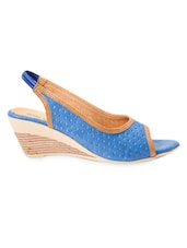 Blue Faux Leather Wedge Sling-Back Sandals - Marc Loire
