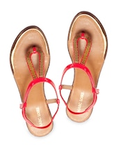 Embellished Red Faux Leather T-strap Sandals - Marc Loire
