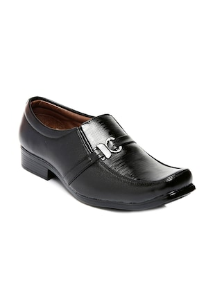 Black leatherette formal slip on -  online shopping for Slip Ons