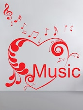 """Music"" In Heart With Musical Notes Wall Sticker - Decor Kafe"