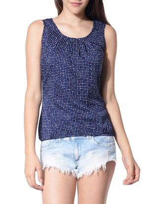 blue poly crepe top