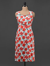 Red Floral Sleeveless Dress - Magnetic Designs