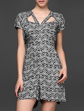 Monochrome Printed Short Sleeve Jumpsuit - Magnetic Designs