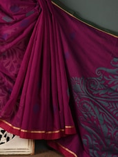 Magenta Cotton Silk Blend Saree - Rang Banarasi