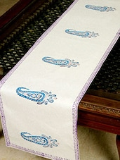 White, Blue, Green Cotton Table Runner - By