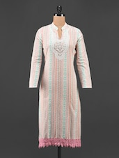 Printed Lace Cotton Kurta - Aamii