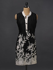 Black & White Printed Cotton Kurti - Aamii