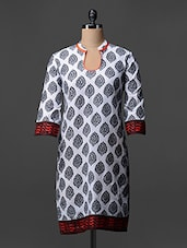 White-Black With Red Border Kurti - ED