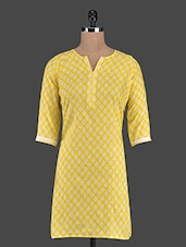Quarter Sleeves Funnel Neck Printed Cotton Kurta - ED