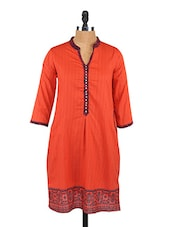 Self Striped Printed Border Cotton Kurta - Saffron Threads