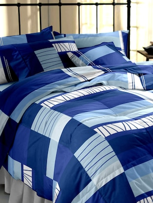Blue Printed Cotton Double Bedsheet Set