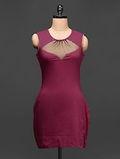 Pink Round Neck Cotton Lycra Dress - Love With India