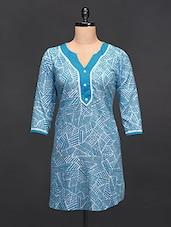 Blue Three Quarter Sleeve Kurti - Love With India