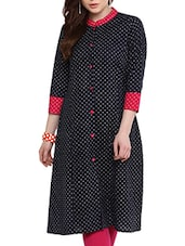 Black Cotton Printed A-line Kurta - By