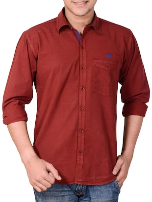 maroon cotton casual shirt