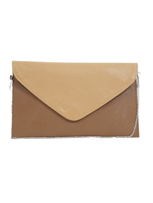 brown leatherette clutch