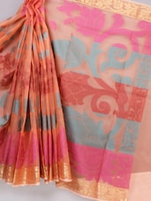 Banarasi Peach Color Saree - Avishi Saree