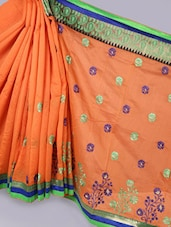 Banarasi Chanderi Orange  Saree - Avishi Saree