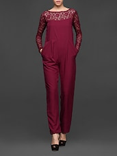 Polyester Lace Full Sleeve Jumpsuit - Miss Chase