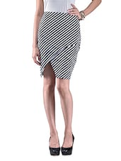 Black And White Striped Cotton Knit Skirt - By