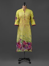 Mandarin Collar Floral Print Cotton Kurta - SHREE