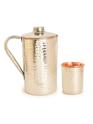 Handmade Steel Copper Jug with Glass