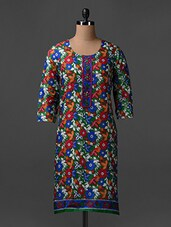 Quarter Sleeves Floral Print Cotton Kurta - SHREE