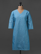 V Neck Sky Blue Cotton Kurta - SHREE