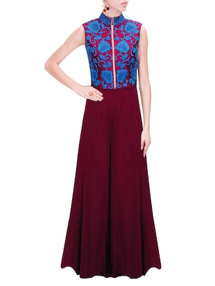 blue & wine georgette semistitched suit