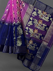 Royal Blue And Pink Silk Cotton Saree - RKB